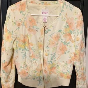 Candie's Cream Floral Jacket - Small